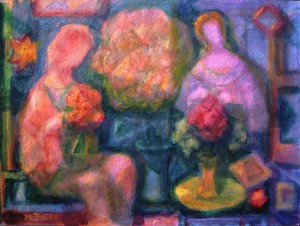 \'Figures In A Garden\' 2004 9ins. x 12ins. Acrylic on paper
